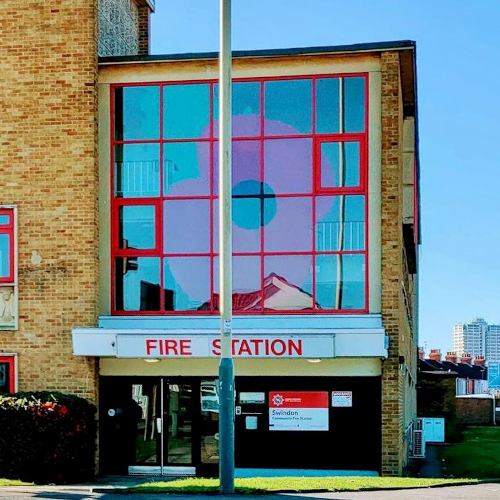 The giant Poppy on display at Swindon Fire Station