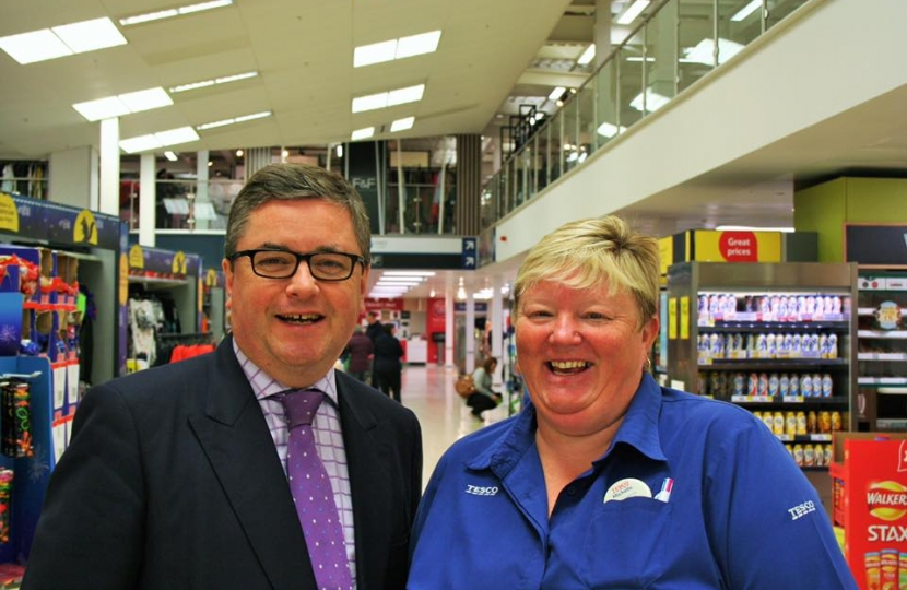Robert Buckland MP at a recent surgery in Tesco Extra, Swindon