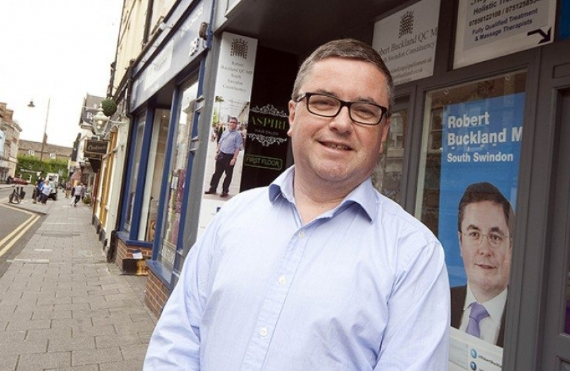 Robert Buckland QC MP pictured outside his Wood St offices