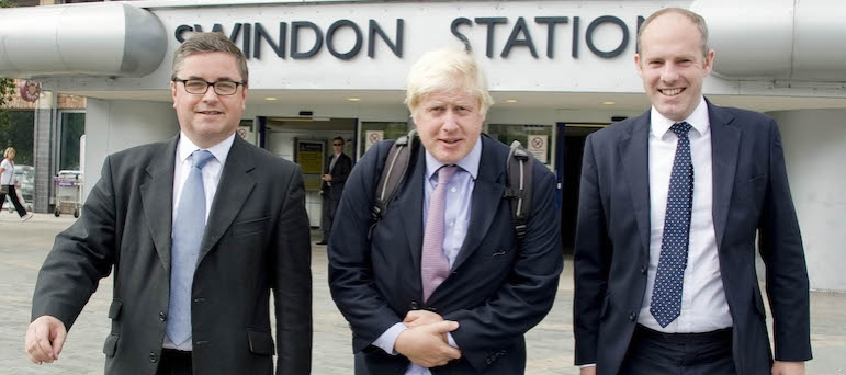 Robert with Justin Tomlinson and Boris Johnson